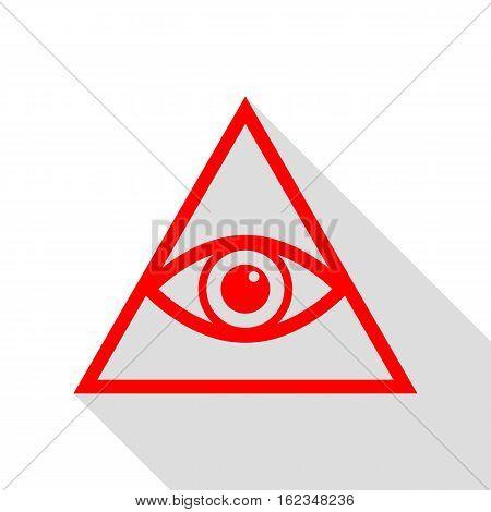 All Seeing Eye Pyramid Symbol. Freemason And Spiritual. Red Icon