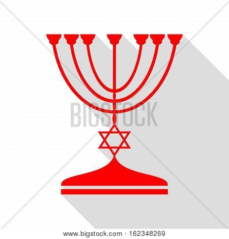 Jewish Menorah Candlestick In Black Silhouette. Red Icon With Fl