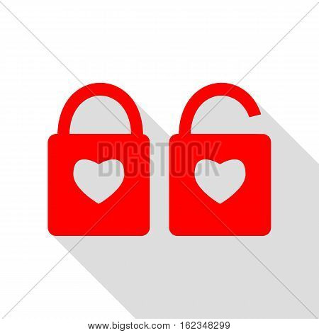 Lock Sign With Heart Shape. A Simple Silhouette Of The Lock. Sha