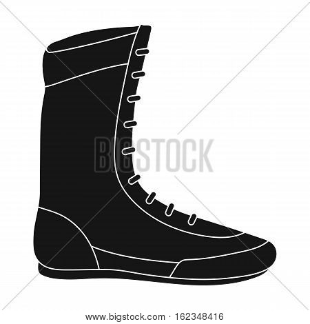 Boxing shoes icon in black style isolated on white background. Boxing symbol vector illustration.