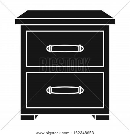 Bedside table icon in black style isolated on white background. Furniture and home interior symbol vector illustration.