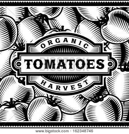 Retro Tomato Harvest Label Black And White. Editable vector illustration in woodcut style with clipping mask.