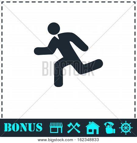 Run icon flat. Simple vector symbol and bonus icon
