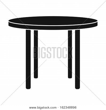 Wooden round table icon in black style isolated on white background. Furniture and home symbol stock vector illustration.