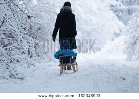 Mother Pulling Sled With Her Little Son.