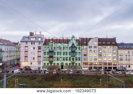 The Colorful houses of Pilsen Plzen Czech Republic Europe