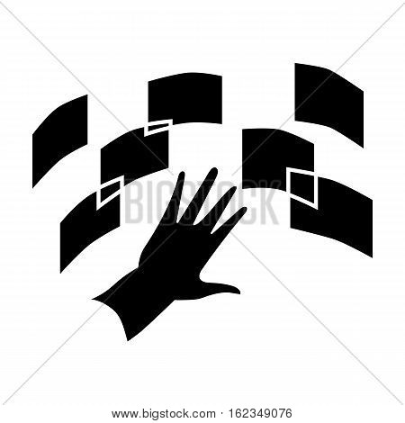 Interface of the virtual reality icon in black style isolated on white background. Virtual reality symbol vector illustration.