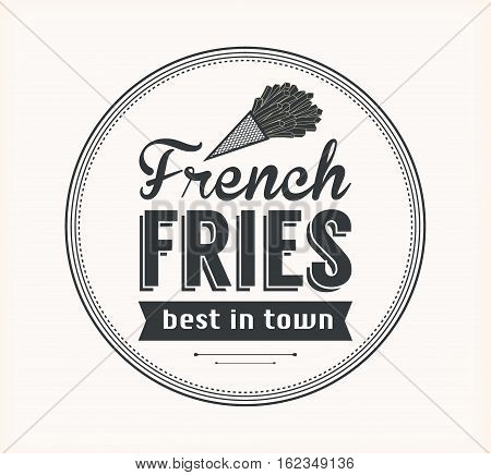 Vector French Fries Badge with Linear Style