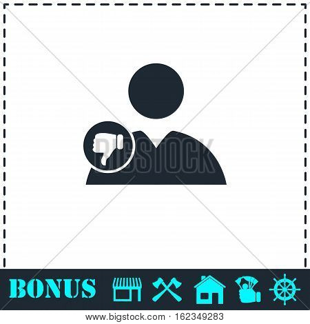 Dislike avatar icon flat. Simple vector symbol and bonus icon