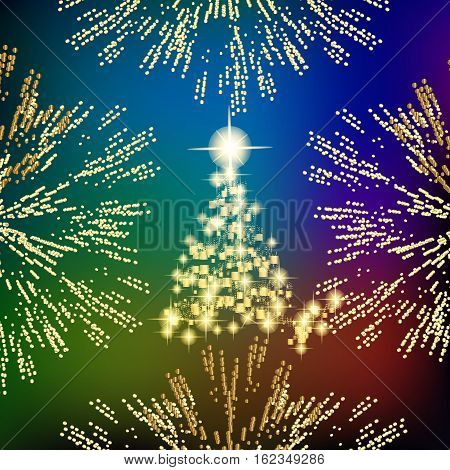Abstract background with christmas tree, lines, stars and ornaments. Illustration in different colors with gold placer in border.