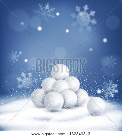 Christmas background with a bunch of snowballs lying in the snow