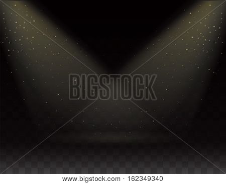 Spotlights scene, Two rays of light on transparent background. Bright Light effect on empty Stage, Falling Snow. Glow light effect. Golden dust. Vector