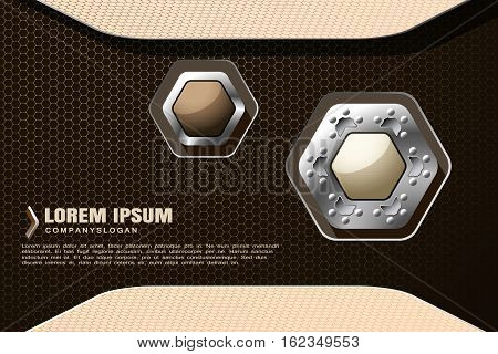 Vector hexagon gradient beige mesh background with hexagon light and dark brown shapes with shadow for business.