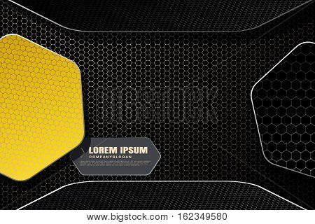 Vector hexagon gradient white mesh background with hexagon yellow and dark gray shapes with shadow for business.