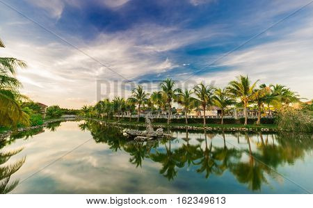Cayo Coco island, Memories Caribe resort, Cuba, June 28. 2016, amazing mesmerizing gorgeous natural landscape view of Memories Caribe hotel grounds at sunset time
