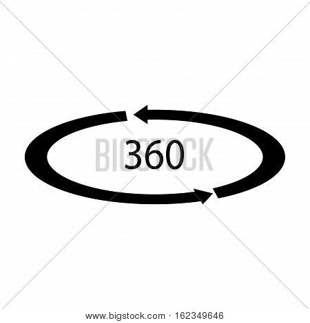 Rotation in the virtual reality icon in black style isolated on white background. Virtual reality symbol vector illustration.