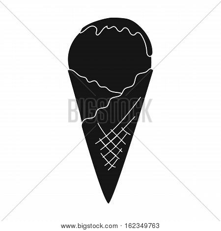 Ice cream on the waffle cone icon in black style isolated on white background. Milk product and sweet symbol vector illustration.