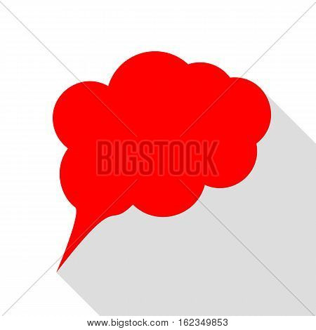 Speach Bubble Sign Illustration. Red Icon With Flat Style Shadow