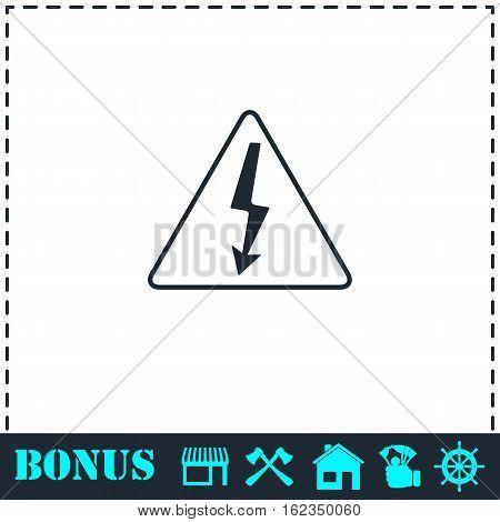 High voltage icon flat. Simple vector symbol and bonus icon