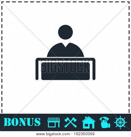 Tribune icon flat. Simple vector symbol and bonus icon