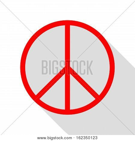 Peace Sign Illustration. Red Icon With Flat Style Shadow Path.