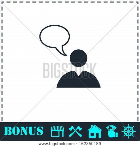 Dialog icon flat. Simple vector symbol and bonus icon