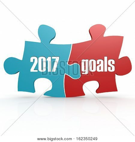 Blue And Red With 2017 Goals Puzzle