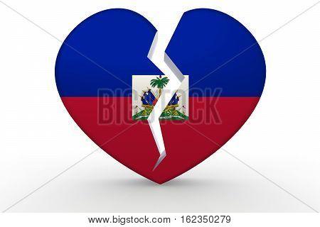 Broken White Heart Shape With Haiti Flag