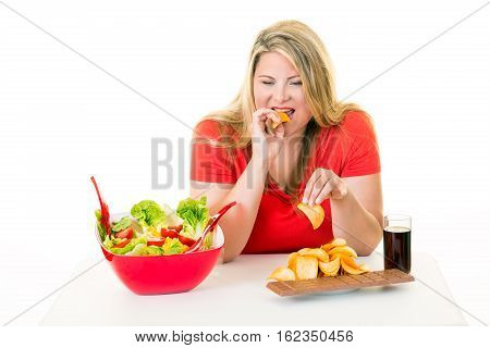 Overweight Woman Eating Unhealthy Junk Food