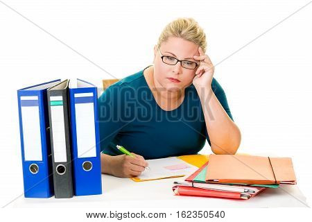 Young Female Businesswoman Working At Desk