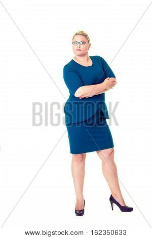 Confident Business Woman With Folded Arms In Dress