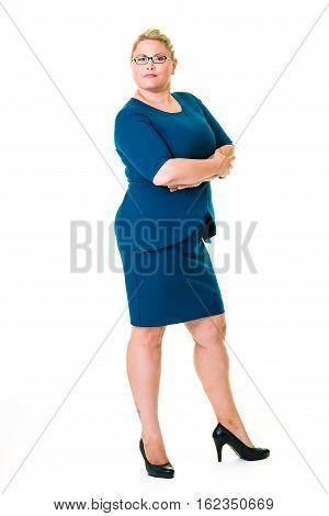 Confident Female Executive In Blue Dress On White
