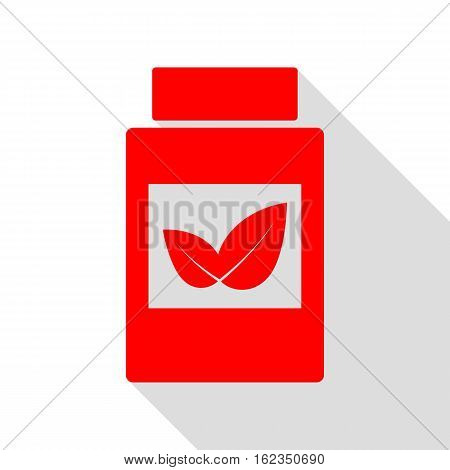 Supplements Container Sign. Red Icon With Flat Style Shadow Path