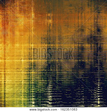 Grunge texture or background with retro design elements and different color patterns: yellow (beige); brown; blue; red (orange)