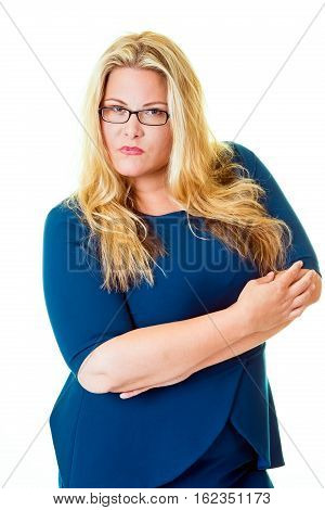 Savvy Business Woman Stares Intensely At Camera
