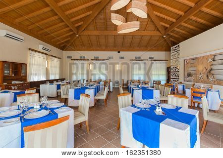 Cayo Coco island, Memories Carib hotel, Cuba, June 30, 2016, amazing beautiful, inviting view of Cuban restaurant ready for their guests