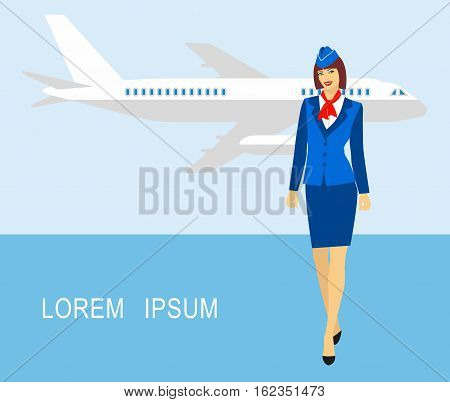 Illustration of stewardess dressed in blue uniform against the backdrop of the aircraft