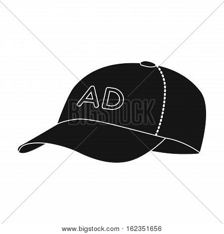 Baseball cap advertising icon in black style isolated on white background. Advertising symbol vector illustration.