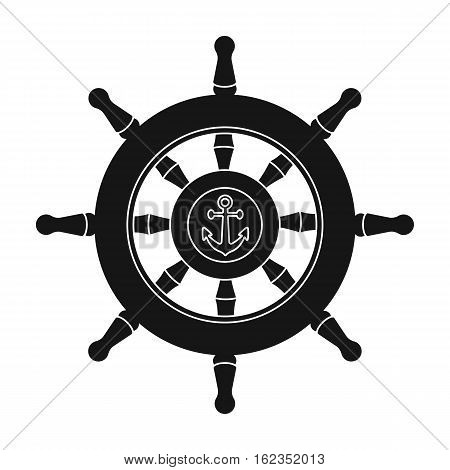 Wooden ship steering wheel icon in black style isolated on white background. Pirates symbol vector illustration.