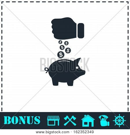 Piggy bank and hand with coin icon flat. Simple vector symbol and bonus icon