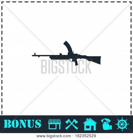 Machine gun icon flat. Simple vector symbol and bonus icon