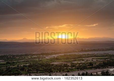 Sunset Over The Landscape Around Ouarzazate