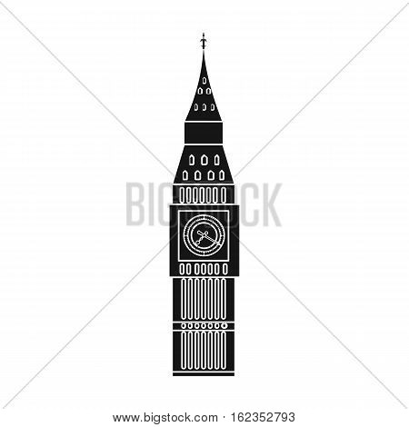 Big Ben icon in black style isolated on white background. England country symbol vector illustration.