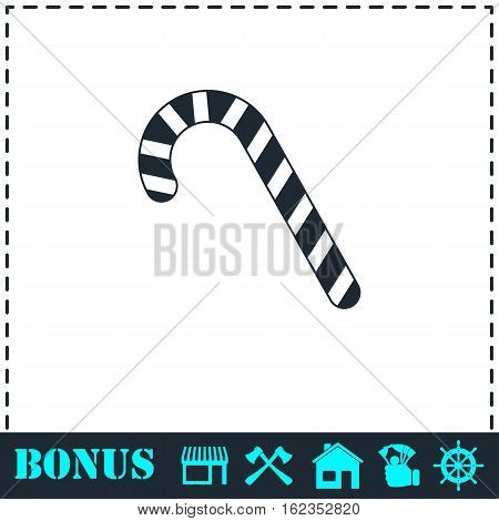 Christmas peppermint candy cane icon flat. Simple vector symbol and bonus icon