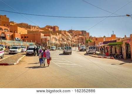 Boumalne Dades Morocco - October 31 2016: Everyday in the streets Boumalne Dades in Morocco