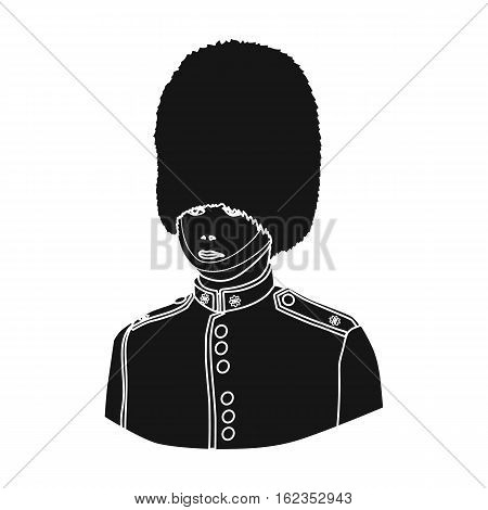 Queen's guard icon in black style isolated on white background. England country symbol vector illustration.