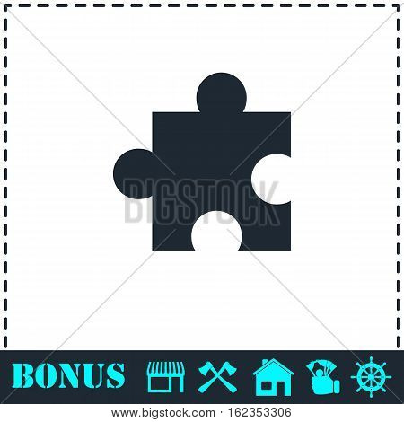 Puzzle piece icon flat. Simple vector symbol and bonus icon