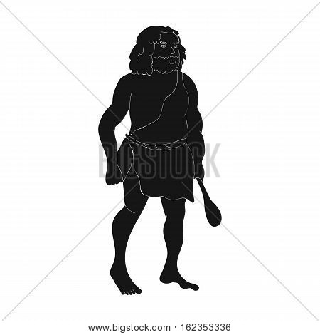 Primitive man with truncheon icon in black style isolated on white background. Stone age symbol vector illustration.