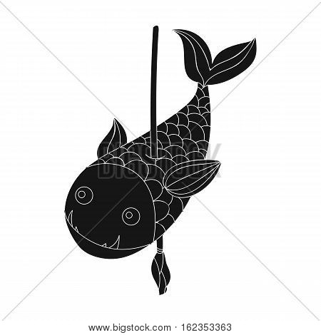Fish on the spear icon in black style isolated on white background. Stone age symbol vector illustration.