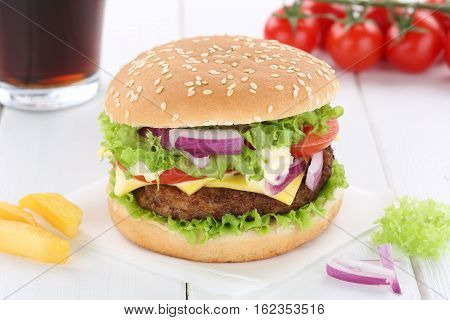 Cheeseburger Hamburger Menu Meal Combo Drink